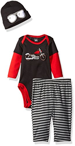 Gerber Baby Boys' 3 Piece Bodysuit, Cap, and Pant Set, Motorcycle, 6-9 Months