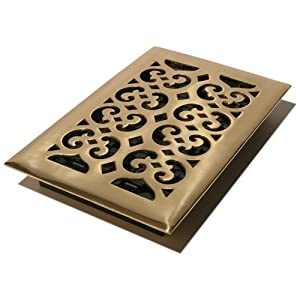 Decor Grates HS610 6-Inch by 10-Inch Scroll Floor Register, Solid Brass