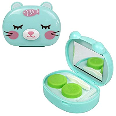 Compact Style 3D Animal Contact Lens Travel Kit Tweezers, Solution Bottle, Mirror and Twist Cap Lens