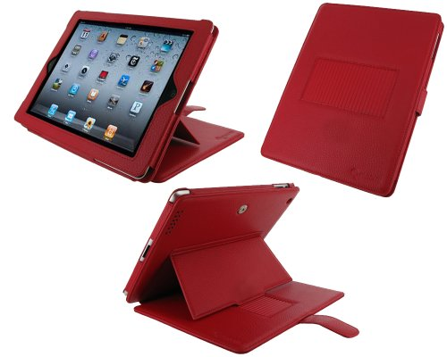 rooCASE Convertible Premium Leather (Red) Case Cover with 24 Angle Adjustable Stand for Apple iPad 2 / iPad 3 (Built-in Magnet Sleep and Awake Function)