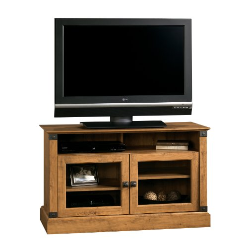 Sauder Registry Row Panel TV Stand, Amber Pine