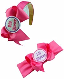 Big Sister Little Sister Embroidered Matching Bow Arch Headband Set
