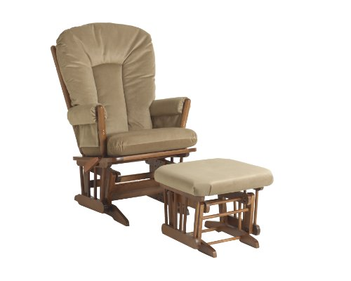 Dutailier Horseshoe Back Design 2 Post Glider Multiposition, Recline and Ottoman Combo, Light Brown