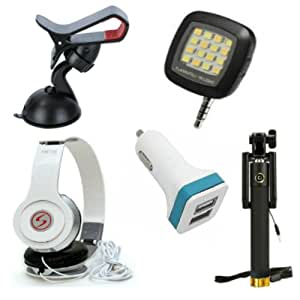 Premium Travel VM46 Headphones+ 2 Jack Car Charger+Sefie Stick Aux+SelfieFlash+Mobile Holder Compatible with Sony Xperia ZR