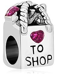 Antique Shopping Bag Heart Love To Shop Purple Crystal Charm Beads Fit Pandora Bracelet