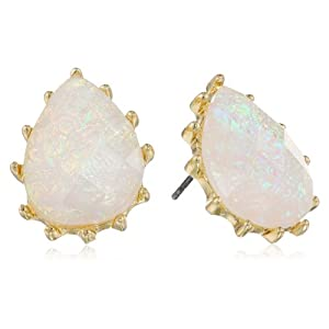 Opal Posted Shiny Gold and White Teardrop Earrings