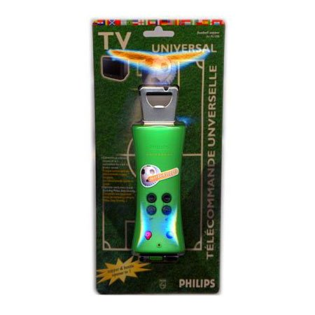 Philips SBCRU098 Football Zapper Universal TV Remote Control With Built-in Bottle Opener