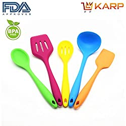 "KARPâ""¢ Home Kitchen Tools-Complete Kitchen Utensil Set of 5: Including 1 Slotted Turner, 2 Spoons, 1 Spatula & 1 Ladle - Non-Stick, FDA, Heat Resistant, BPA & Latex Free - Multicolor"