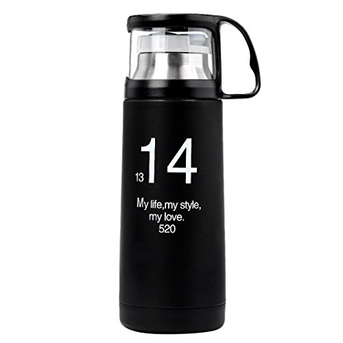 Laimeng, 350ML Stainless Steel Vaccum Creative Transparent Cover Vaccum Cup (Black)