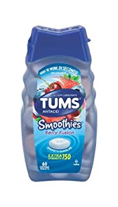 Tums Smoothies Antacid Chewable Tablets, Berry Fusion - 60 Count