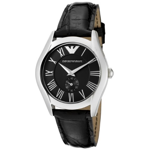 Emporio Armani Classic Collection Men's Quartz Watch with Black Dial Analogue Display and Black Leather Strap AR0644