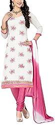 Fabiola Trendz Women's Cotton Silk Unstitched Dress Material (White)