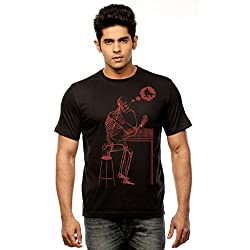 Huetrap Men's Lost in Thought Black T shirt