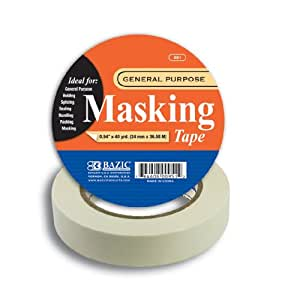Bazic General Purpose Masking Tape, 0.94 x 1440 Inches (40 Yards) (Case of 36)