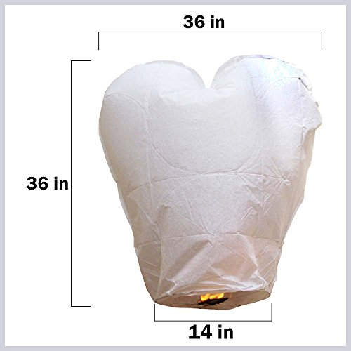Just Artifacts Premium Quality ECO Wire-Free Flying Chinese Sky Lanterns (Set of 10, Heart, White) - Topnotch Flight, 100% Biodegradable, Environmentally Friendly Lanterns!