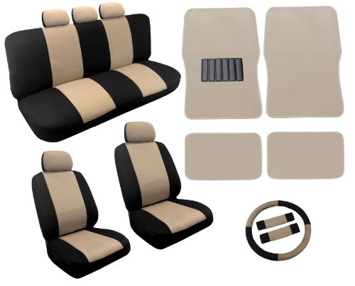 Dual Color Tan/Black Two Tone Car Seat Covers Floor Mats Set 18pc Racing Stripe For Dodge Neon new 2 pieces set 2 doors interior tpe floor mats black for jeep wrangler 07 16 08 09 11 13 14 15 [qpa286]