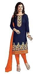 khodiyar fashion blue cotton semi-stiched suit