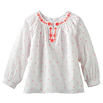 Amazon.com: OshKosh Girls L/S Embroidered Peasant Top (4T, Ivory