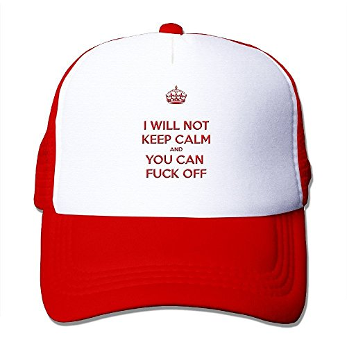 I WILL NOT KEEP CALM AND YOU CAN FUCK OFF - Adjustable Baseball Hat Mesh Back Cap For Adult / Unisex - Red
