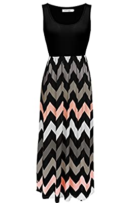 Meaneor Women Sleeveless Scoop Neck Chevron Print Summer Long Maxi Party Dress