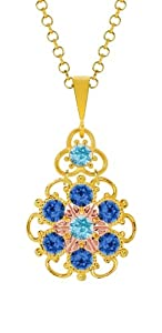 Lucia Costin Silver, Light Blue, Blue Crystal Pendant, Delicate Enriched