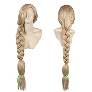Rapunzel Wig Cosplay Costume Long Blonde Prestyled Braided Ponytail Halloween Party Hair Adult