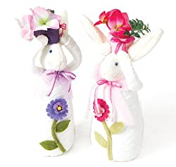 Pack of 6 Floral Stuffed White Easter Bunny Rabbit Table Top Figures 11""