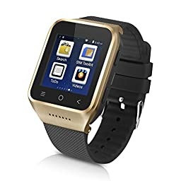 Sudroid S8 Android 4.4 Dual Core Gear Smart Watch Phone Wrist Wrap Watch Phone,1.54 inch LG Multi-point Touch Screen,3G WCDMA,Bluetooth 4.0,Bulit-in GPS,2M Camera Gold(with a 4-port Hub)
