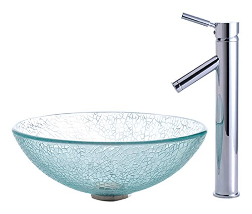 Kraus C-GV-500-12mm-1002CH Broken Glass Vessel Sink and Sheven Faucet Chrome