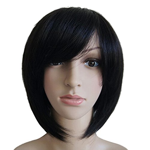 Fashion Women Lady Short Bob Straight Human Hair Wig - Black by TANGDA