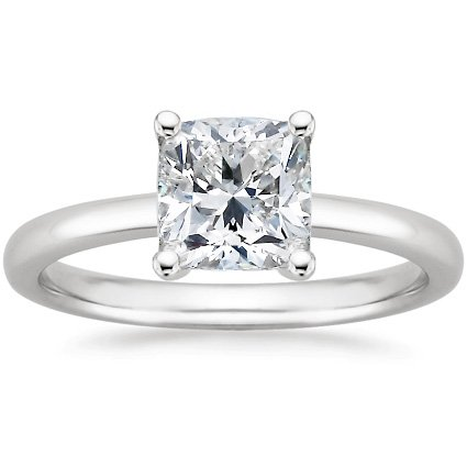 14K White Gold Solitaire Diamond Engagement Ring Cushion Cut ( J Color Vs2 Clarity 1 Ctw)