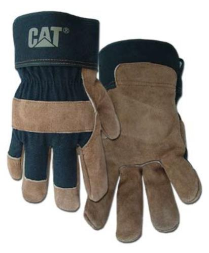 CAT Premium Brown/Black Leather Palm Work Gloves - Large #CAT013200L