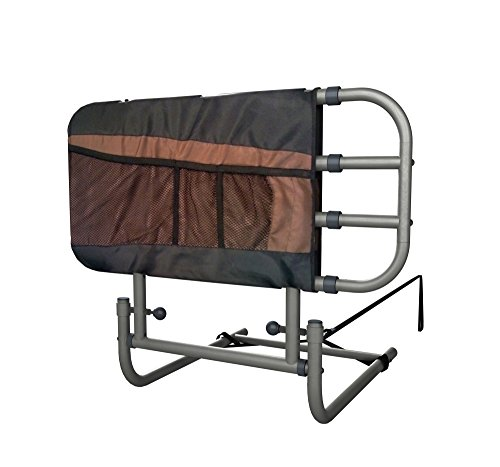 Stander EZ Adjust & Pivoting Adult Home Bed Rail + 3 pocket organizer pouch + Adjustable in Length to 26″-34″-42″ + Included Safety Strap + Lifetime Guarantee