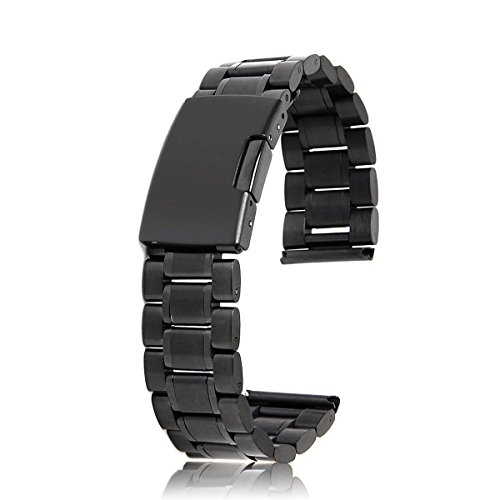 WINOMO 18mm Watch Band Strap bracciale in acciaio solidi legami End con 2pcs vigilanza Pins Barrette (nero)
