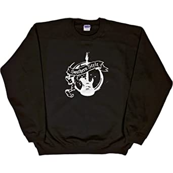 MENS SWEATSHIRT : BLACK - SMALL - Southern Style - Country and Western Music Guitar