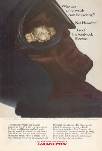 1966 Hamilton Watch: The Total-Look Electric, Hamilton Watch Company Print Ad