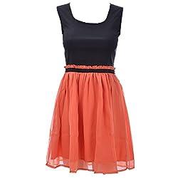 Xniva Cotton Lycra/Chiffon Black Orange Party Wear Dress For Women_M