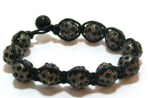 Just Give Me Jewels Yoga Style Macrame Bead Bracelet with 10mm Micro-pave Black Rhinestone Ball in Gunmetal