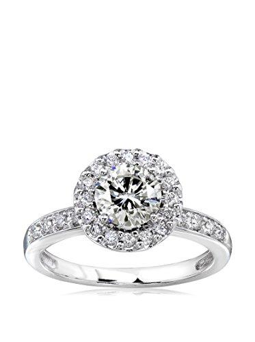 Kobelli 14K White Gold Round Moissanite & Diamond Halo Engagement Ring