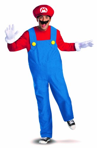 Disguise Super Mario Deluxe Mens Adult Costume, Red/Blue, XX-Large/50-52