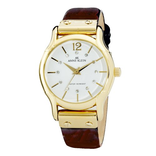 AK Anne Klein Women's 109434WTBN Swarovski Crystal Accented Gold-Tone Brown Leather Watch