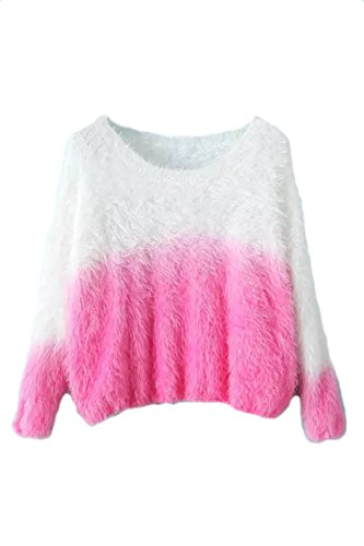 Pink Wind Womens Gradient Color Mink Cashmere Sweater Fuzzy Pullover Knitwear