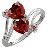 1.82 Ct Genuine Heart Shape Red Garnet Gemstone Sterling Silver Ring
