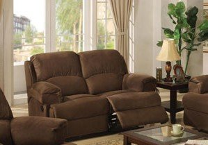 Buy Low Price Poundex Upholstery Recliner Loveseat Sofa – Coco Brown Finish (VF_F7787)