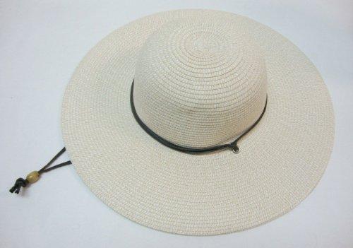 Ladies Wide Large Brim Summer Beach Sun hat Straw Ivory