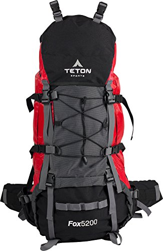 TETON Sports Fox 5200 Internal Frame Backpack, Great Backpacking Gear; Hiking Backpack for Camping and Hunting, Red