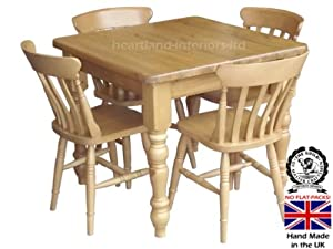 solid wood dining set small 3ft x 3ft handcrafted table