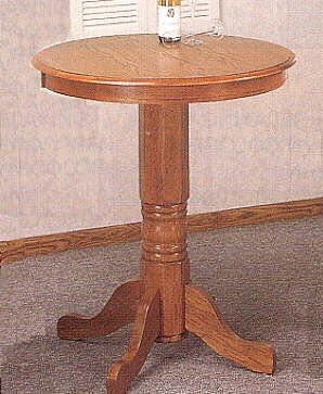 Image of Country Style Solid Oak Wood Round Kitchen Bar Breakfast Table (VF_5267)