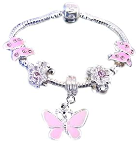 Treasured Charms & Beads Beautiful Childrens Silver Plated Pink Butterfly Dangle Charm Bracelet Ages 2-4 Years 15CM