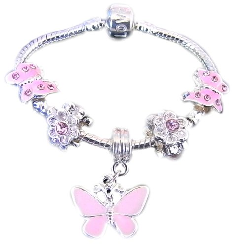 Treasured Charms & Beads Beautiful Childrens Silver Plated Pink Butterfly Dangle Charm Bracelet
